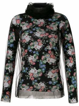 Gloria Coelho блузка с принтом и вставками из тюля I20T006B