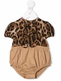 Dolce & Gabbana Kids боди с леопардовым принтом L2JOT3G7WRL