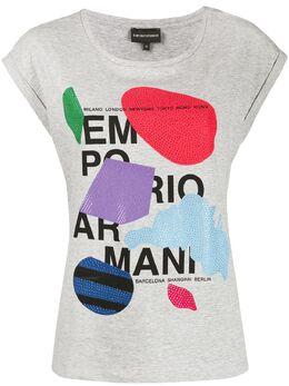 Emporio Armani футболка с логотипом из страз 3H2T6A2JQAZ