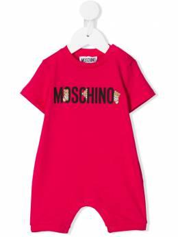 Moschino Kids Teddy Bear logo print babygrow MUT01ILAA08