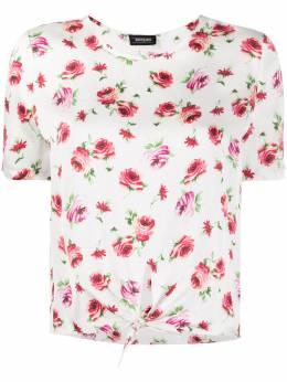Simonetta Ravizza футболка с цветочным принтом и поясом на завязке MALTAG