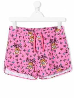 Moschino Kids TEEN Toy Teddy logo printed shorts HDQ006LBB27