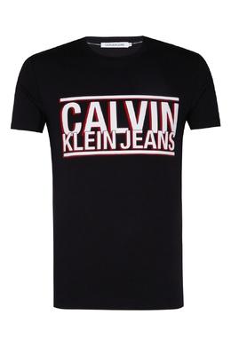 Черная футболка с крупным логотипом Calvin Klein 596189417