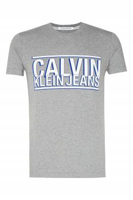 Серая футболка с крупным логотипом Calvin Klein 596189455