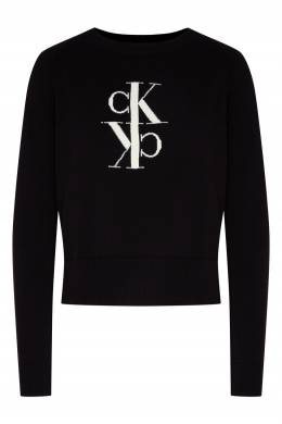 Черный джемпер с рукавами-регланами Calvin Klein 596189537