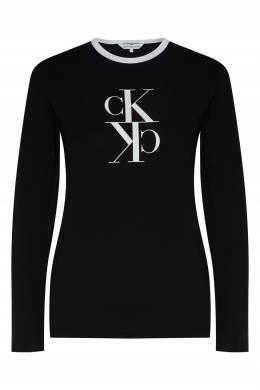 Черный лонгслив с принтом Calvin Klein 596189517
