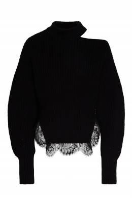 Черный свитер с кружевной отделкой Self-Portrait 532189587