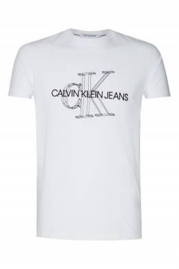Белая футболка с черным логотипом Calvin Klein 596189418