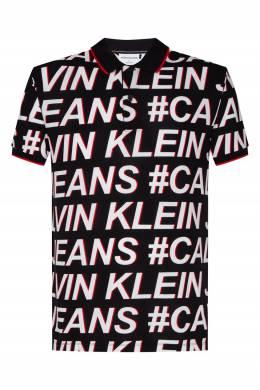 Черное поло с крупными принтами Calvin Klein 596189487