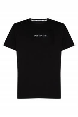 Черная хлопковая футболка с логотипом Calvin Klein 596189460