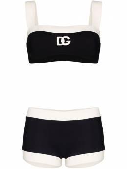 Dolce&Gabbana двухцветный купальник бикини с логотипом O8A69JFUGA2