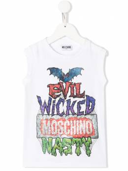 Moschino Kids TEEN sleeveless Nasty print T-shirt HOM02FLAA12