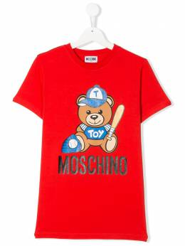 Moschino Kids TEEN Toy Teddy logo printed T-shirt H5M01ILBA10