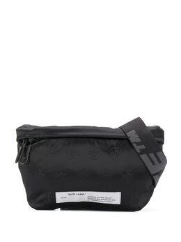 Off-White поясная сумка с жаккардовым логотипом OMNA097S20G490201000