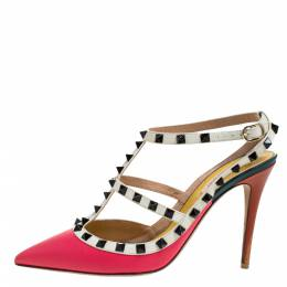 Valentino Pink/White Leather Rockstud Ankle Strap Sandals Size 40