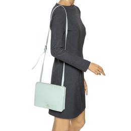 Aigner Light Green Leather Flap Crossbody Bag 274397