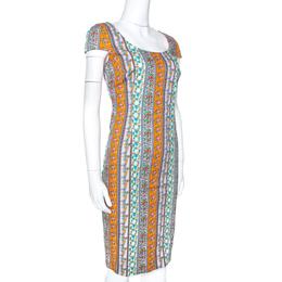 Versace Multicolor Floral Print Cotton Sheath Dress M 273501