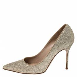 Manolo Blahnik Gold Glitter BB Pointed Toe Pumps Size 39.5 273259