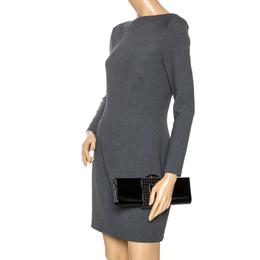Giorgio Armani Black Beaded Embellished Patent Leather Clutch 274202
