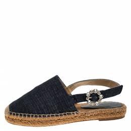 Dolce&Gabbana Denim Fabric Embellished Slingback Espadrille Flats Size 36 273782