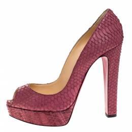 Christian Louboutin Pink Python Leather Lady Peep Toe Platform Pumps Size 41 274302