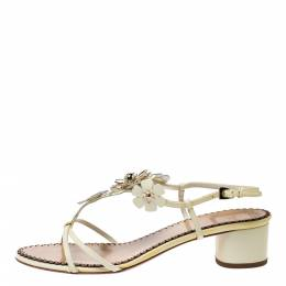 Dior Yellow Patent Leather Metal Flower Embellished Ankle Strap Sandals Size 40.5 274231