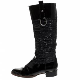 Dolce&Gabbana Black Patent Leather and Quilted Nylon Knee Boots Size 40 274540