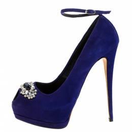 Giuseppe Zanotti Design Blue Suede Crystal Embellished Ankle Strap Peep Toe Platform Pumps Size 41 274310