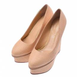 Charlotte Olympia Beige Canvas Pumps Beige Size 37 273430