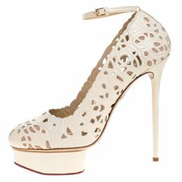 Charlotte Olympia Cream Cut Out Leather Scribble Dolores Ankle Strap Platform Pumps Size 41 274367