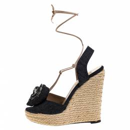 Valentino Blue Denim Fabric Flower Detail Wedge Platform Espadrille Sandals Size 37