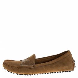 Gucci Brown Suede And Guccissima Leather Slip On Loafers Size 36