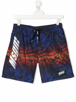 MSGM TEEN feather print shorts 022255