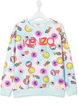 Kenzo Kids толстовка с вышитым логотипом KQ15008