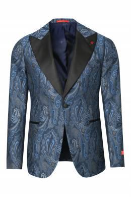 Синий пиджак с узором Isaia 2328189668