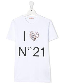 No.21 Kids футболка с логотипом и кристаллами N214AAN0003