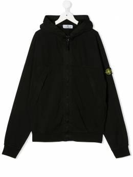 Stone Island Junior TEEN compass badge zip-up hoodie MO721661440