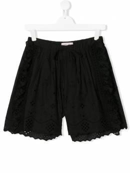 Alberta Ferretti Kids шорты с вышивкой и оборками 024248