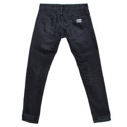 Dolce&Gabbana 14 Gold Black Distressed Denim Straight Jeans S 274353
