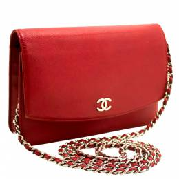 Chanel Red Caviar Leather Wallet On Chain 273552