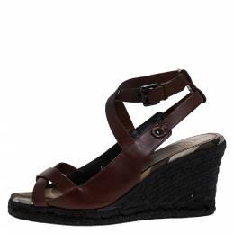 Burberry Brown Leather Cross Strap Espadrille Wedge Sandals Size 39 274398