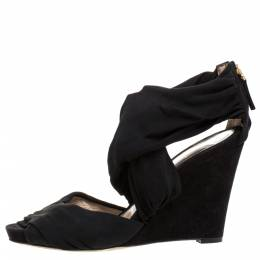 Fendi Black Stretch Fabric And Suede Cross Strap Sandals Size 40 274403