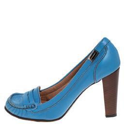 Dolce&Gabbana Blue Leather Loafer Pumps Size 41