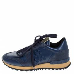 Valentino Blue Leather And Suede Rockrunner Low Top Sneakers Size 36 274675