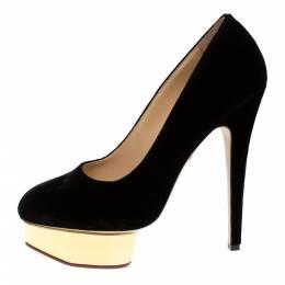 Charlotte Olympia Black Velvet Dolly Platform Pumps Size 41 274303