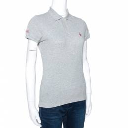 Ralph Lauren Grey Cotton Pique Harvard Skinny Polo T-Shirt S 274541
