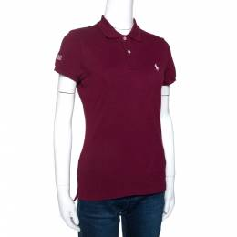 Ralph Lauren Burgundy Cotton Pique Harvard Skinny Polo T-Shirt S 274564