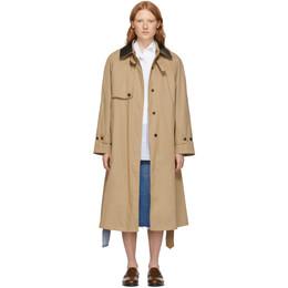 Loewe Beige Silk Contrast Collar Trench Coat S2101092PA