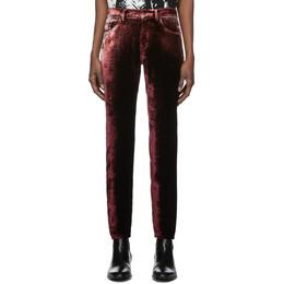 Saint Laurent Burgundy Velvet Trousers 601478Y568Y