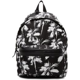 Saint Laurent Black Palm Print City Backpack 534967HZU1U